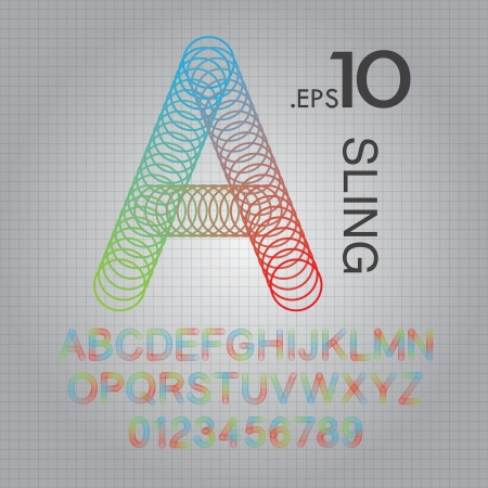 sling: Circle Sling Alphabet and Numbers Vector Illustration