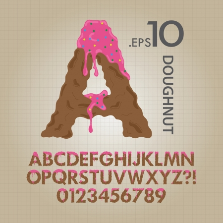 Creamy Doughnut Alphabet and Numbers Vector Vector