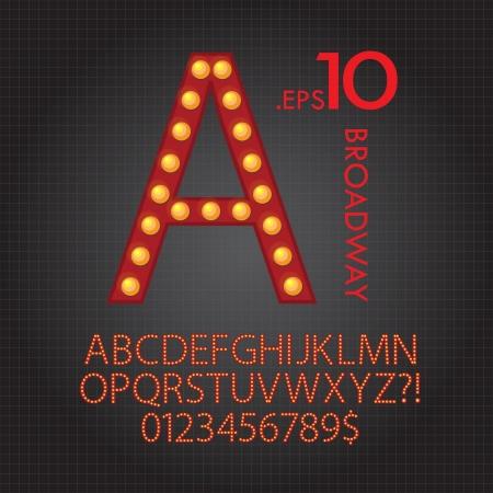 lighten: Red Broadway Alphabet and Numbers Vector