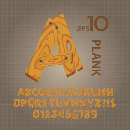 wood log: Wood Plank Alphabet and Numbers Vector