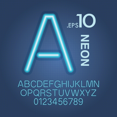 tungsten: Blue Neon Alphabet and Numbers Vector