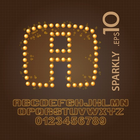 Sparkly Alphabet and Numbers Vector