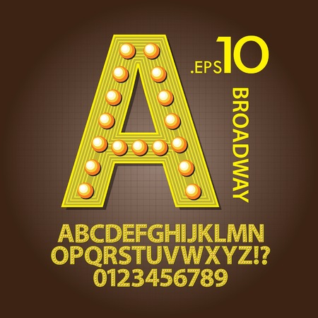 Yellow Broadway Alphabet and Numbers Vector