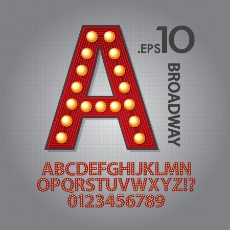 빨간색 브로드 웨이 알파벳 및 숫자 벡터 일러스트