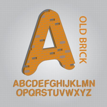 Old Brick Alphabet Vector