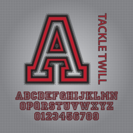 Red Tackle Twill Alphabet and Numbers