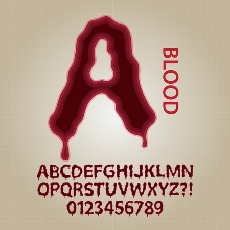 Red Blood Alphabet and Numbers Vector Vector