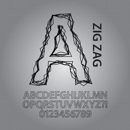 zag: Black Zig Zag Alphabet and NUmbers Vector Illustration