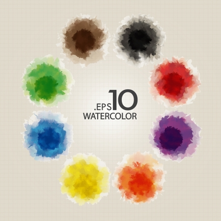 Set of Primary Color Watercolor Vector