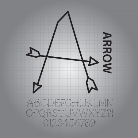 arbalest: Silhouette Arrow Alphabet and Numbers Vector