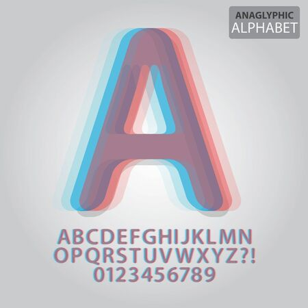 anaglyph: Anaglyphic Alphabet and Numbers Illustration