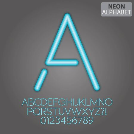 fluorescent light: Blue Neon Alphabet and Numbers