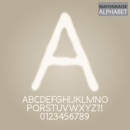 mayonnaise: Mayonnaise Sauce Alphabet and Numbers Illustration
