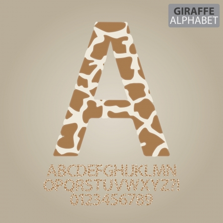 schreiben: Giraffen-Haut-Alphabet und Zahlen Vektor Illustration