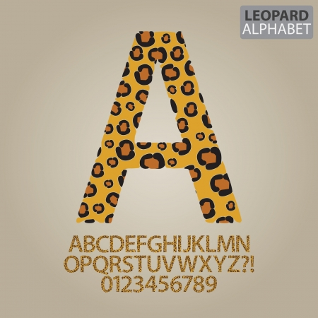 Leopard Skin Alphabet and Numbers Vector Vector