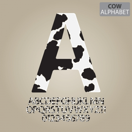 alphabet number: Cow Skin Alphabet and Numbers Vector