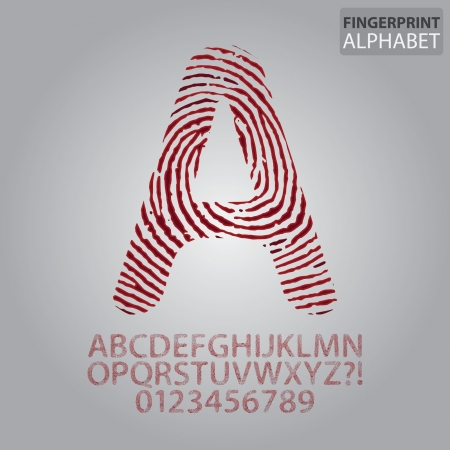 murder: Bloody Fingerprint Alphabet and Numbers Vector