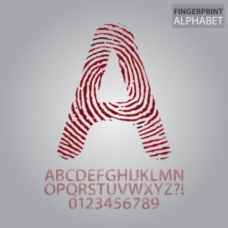 fingerprint: Bloody Fingerprint Alphabet and Numbers Vector