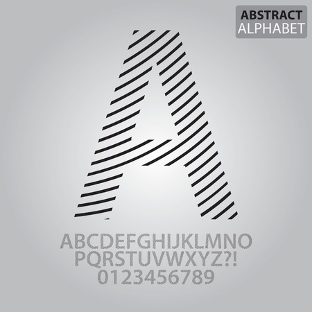 numbers abstract: Abstract Line Alphabet and Numbers Vector Illustration