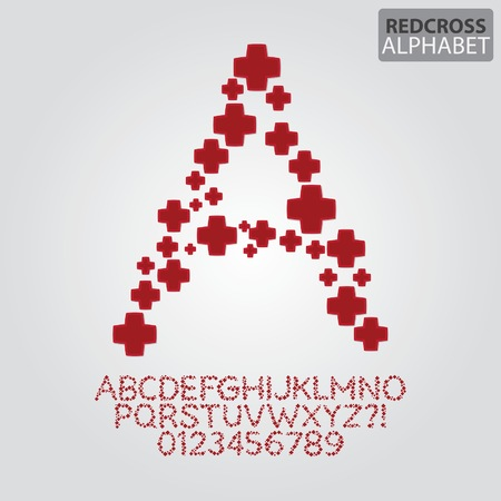 red cross: Red Cross Alphabet and Numbers Vector