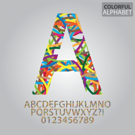 Colorful Abstract Alphabet and Numbers Vector Vector