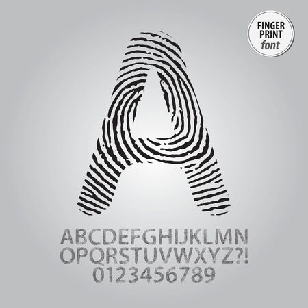 Silhouette Fingerprint Alphabet and Digit Vector Vector