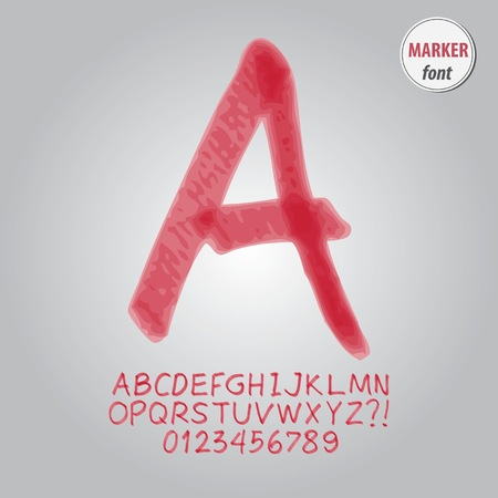 number 10: Red Marker Alphabet and Digit Vector