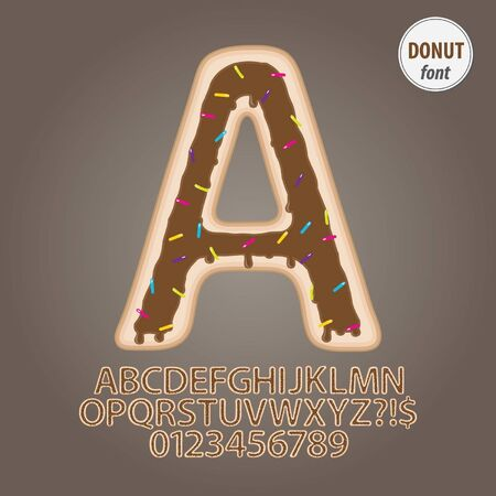 Chocolate Donut Alphabet and Digit Vector Vector