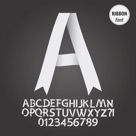 ruban blanc: Ruban blanc Alphabet et chiffres Vecteur