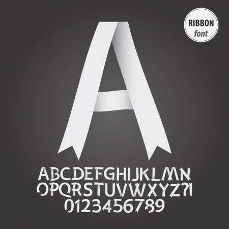 White Ribbon Alphabet and Digit Vector Vector