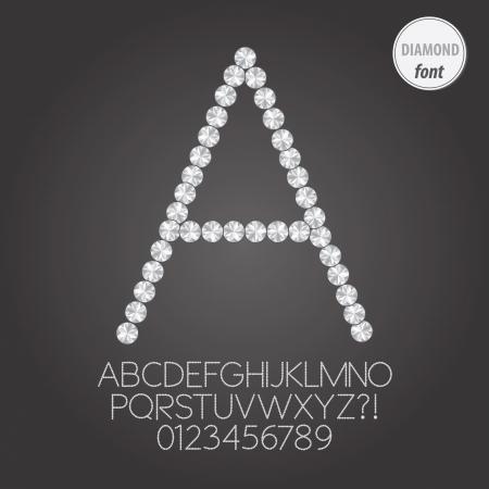 White Diamond Alphabet and Digit Vector Vectores