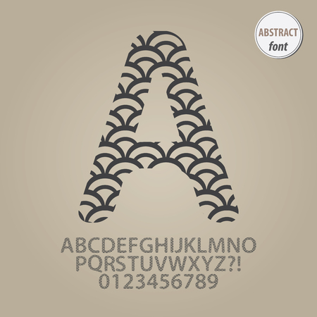 Abstract Fish Scale Alphabet and Digit Vector Vector