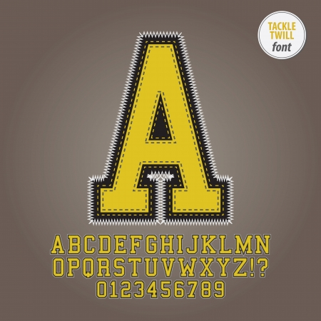 twill: Yellow Tackle Twill Alphabet and Digit Vector
