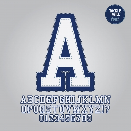 twill: Blue Tackle Twill Alphabet and Digit Vector Illustration