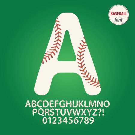 czcionki: Baseball Ball Alfabet i cyfry wektor