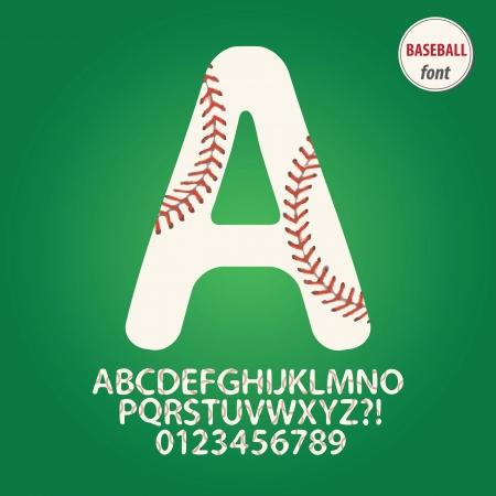 pelota beisbol: Bola del b�isbol del alfabeto y Digit Vector Vectores