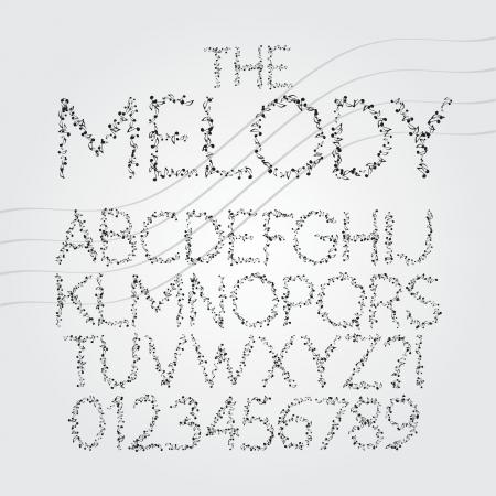 key words art: Musical Symbol Alphabet and Digit Vector