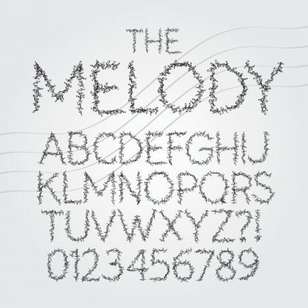 fonts music: Musical Symbol Alphabet and Digit Vector