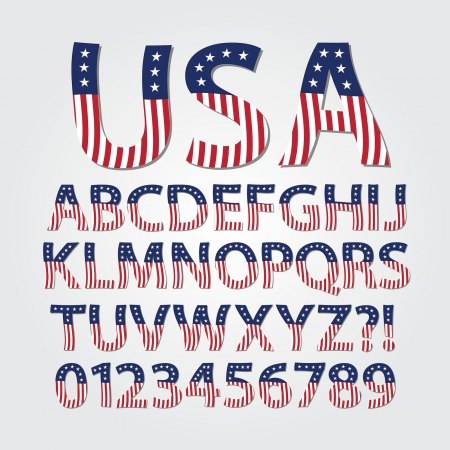 Flag of United States Alphabet and Digit Vector Vector