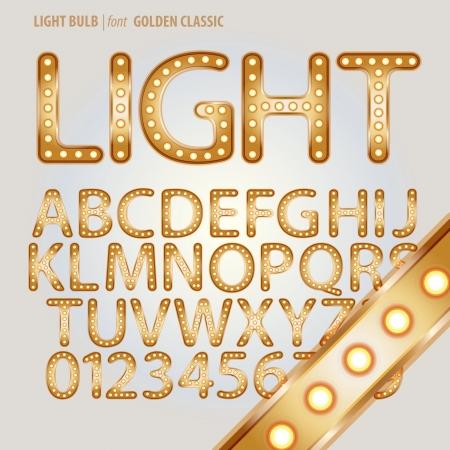 broadway: Golden Classic Light Bulb Alphabet and Digit Vector