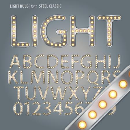 fluorescent light: Steel Classic Light Bulb Alphabet and Digit Vector