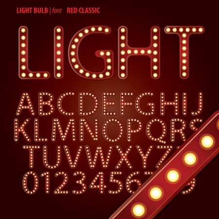 Red Classic Light Bulb Alphabet and Digit Vector Vector