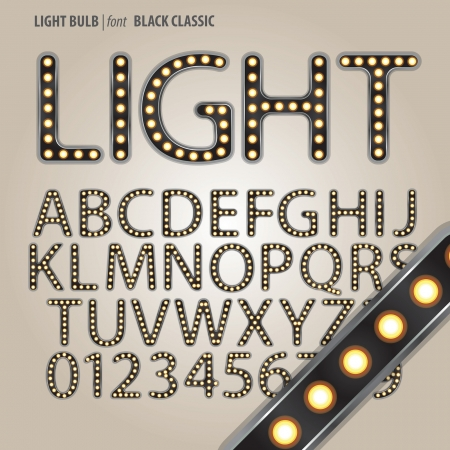 Black Classic Light Bulb Alphabet and Digit Vector Vector