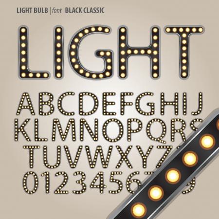 Black Classic Light Bulb Alphabet and Digit Vector