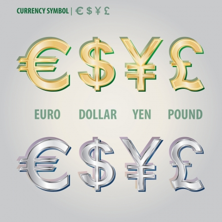 yen sign: Currency Symbol of Dollar Euro Yen and Pound Vector  Illustration