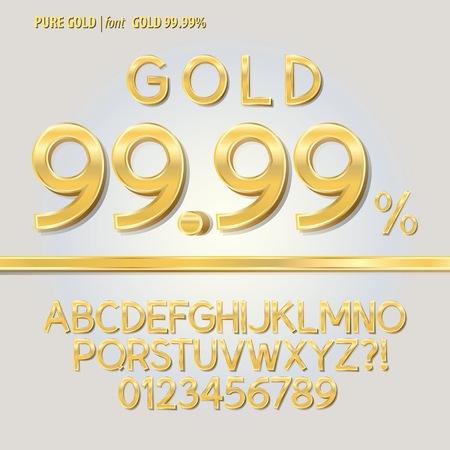 letras de oro: Pure Alfabeto Oro y Digit Vector Vectores