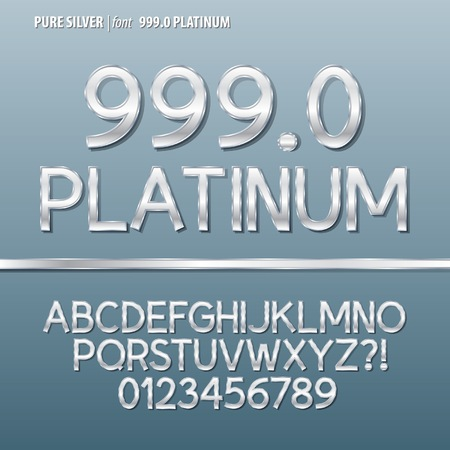 Pure Silver Alphabet and Digit Vector Vector