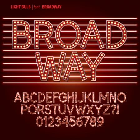 Ampoule rouge Broadway lumière alphabet et chiffres Vecteur