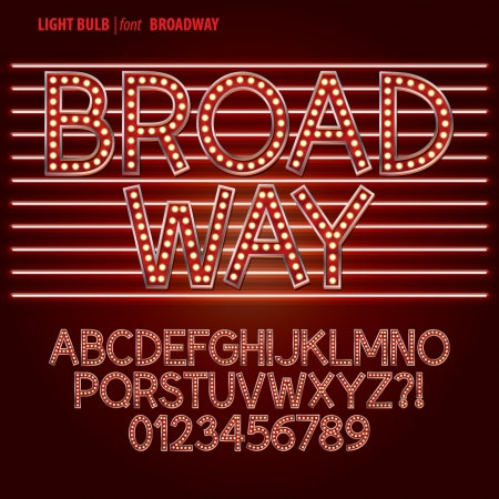 open type font: Red Broadway Light Bulb Alphabet and Digit Vector Illustration
