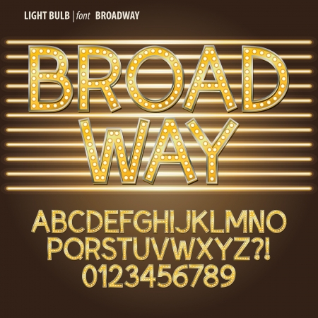 黄金のブロードウェイ電球アルファベットと数字のベクトル  イラスト・ベクター素材